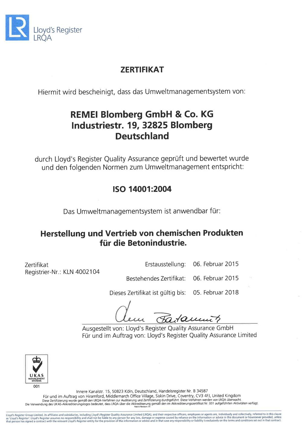 [Translate to Englisch:] ISO 14001:2004 Zertifikat
